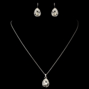 Silver Clear Teardrop Swarovski Element Crystal Jewelry Set 9602