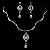 Silver Clear Teardrop CZ Crystal & Rhinestone Jewelry Set 9000