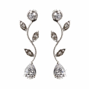 Silver Clear Teardrop CZ Crystal Vine Drop Earrings 0116