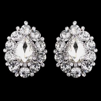 Silver Clear Teardrop Large Stud Clip-On Earrings 9888
