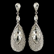 Silver Clear Teardrop Rhinestone Dangle Earrings 4105