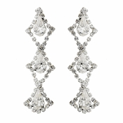 Silver Clear Teardrop Rhinestone Dangle Earrings 7919