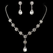 Silver Clear Teardrop Rhinestone Jewelry Set 9634