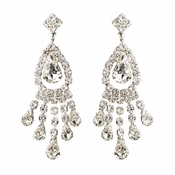 Silver Clear Teardrop & Round Rhinestone Chandelier Earrings 2479