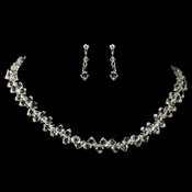 Silver Crystal Bridal Jewelry Set NE 8122