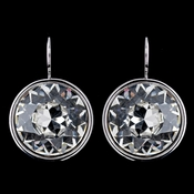 Silver Crystal Clear Jumbo Solitaire Round Swarovski Crystal Leverback Earrings