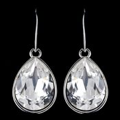 Silver Crystal Clear Swarovski Crystal Element Large Teardrop Hook Earrings 9604