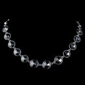 Silver Crystal Silver Shade Swarovski Crystal Round Solitaire Necklace 9607