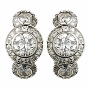 Silver Cubic Zirconia Bridal Earrings E 8116