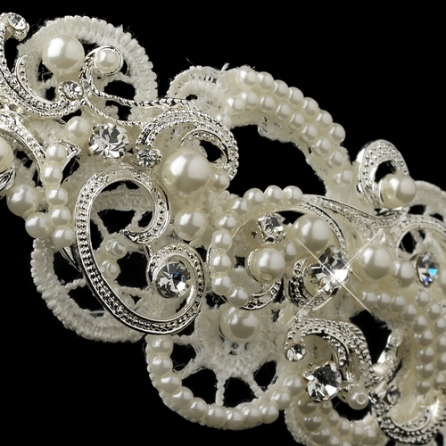 ✧SPECIAL ORDER ONLY✧ Silver Diamond White Baroque Swirl Lace Side Headband