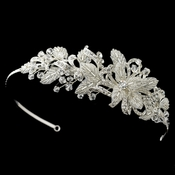 Silver Diamond White Floral Baroque Swirl Sheer Mesh Side Headband