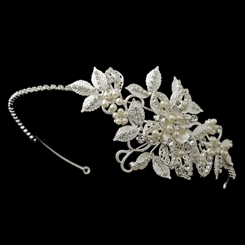 ✧SPECIAL ORDER ONLY✧ Silver Diamond White Floral Leaf Side Headband