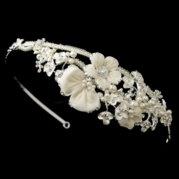 ✧SPECIAL ORDER ONLY✧ Silver Diamond White Floral Organza, Pearl & Rhinestone Side Tiara