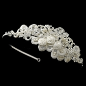 Silver Diamond White Floral Rose Satin Lace Side Headband