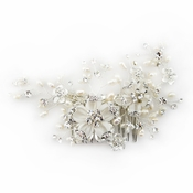 Silver Diamond White Flower Organza Comb (Minimum order 24 pcs x $33 each = $792 Delivery 1.5-2 mths)