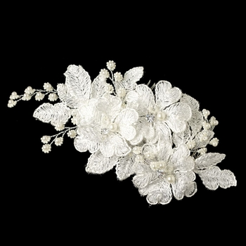 Silver Diamond White Lace Flower w/ Light Ivory Pearl Accent Hair Comb 22