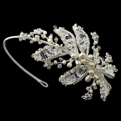 Silver Diamond White Lace, Swarovski Crystal & Pearl Side Headband
