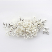 Silver Diamond White Organza & Acrylic Flower Clip (Minimum order 24 pieces x $27 ea)