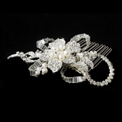 * Silver Diamond White Pearl  Bridal Comb 8259