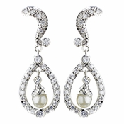 Silver Diamond White Pearl & CZ Crystal Kate Middleton Bridal Wedding Earrings 9255