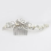 Silver Diamond White Pearl & Rhinestone Baroque Swirl Comb***Sold Out ****