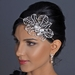 Silver Diamond White Pearl, Rhinestone & Bugle Bead Side Accented Headband Headpiece 9622