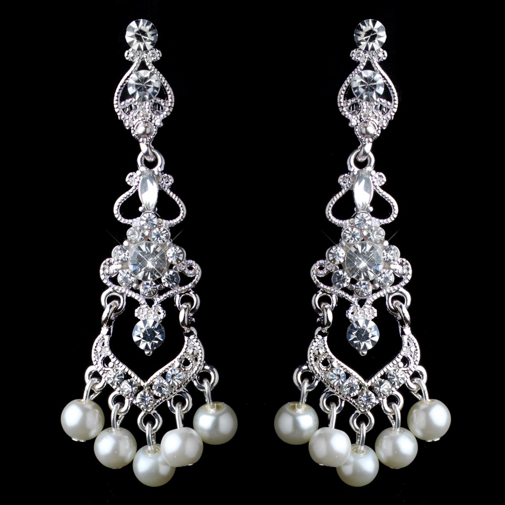 Silver diamond white pearl rhinestone chandelier clip on earrings aloadofball Image collections