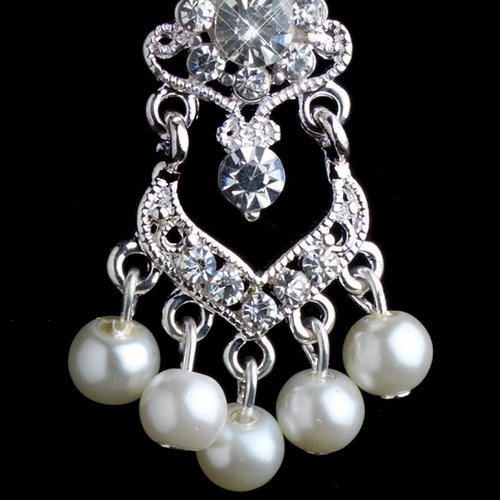 Silver Diamond White Pearl & Rhinestone Chandelier Clip-on Earrings