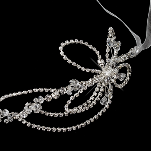 Silver Diamond White Ribbon Headband 4479 with Rhinestones & Crystals