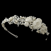 Silver Diamond White Rose Side Headband