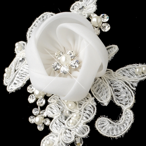 Silver Diamond White Satin & Lace Flower Clip Headpiece