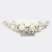 Silver Diamond White Satin Rose Comb