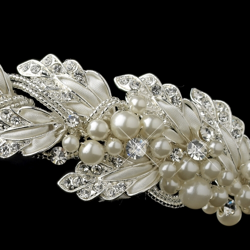 ✧SPECIAL ORDER ONLY✧ Silver Diamond White Satin Side Headband