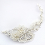 ✧SPECIAL ORDER ONLY✧ Silver Diamond White Sheer Organza Flower Baroque Swirl Vine Clip