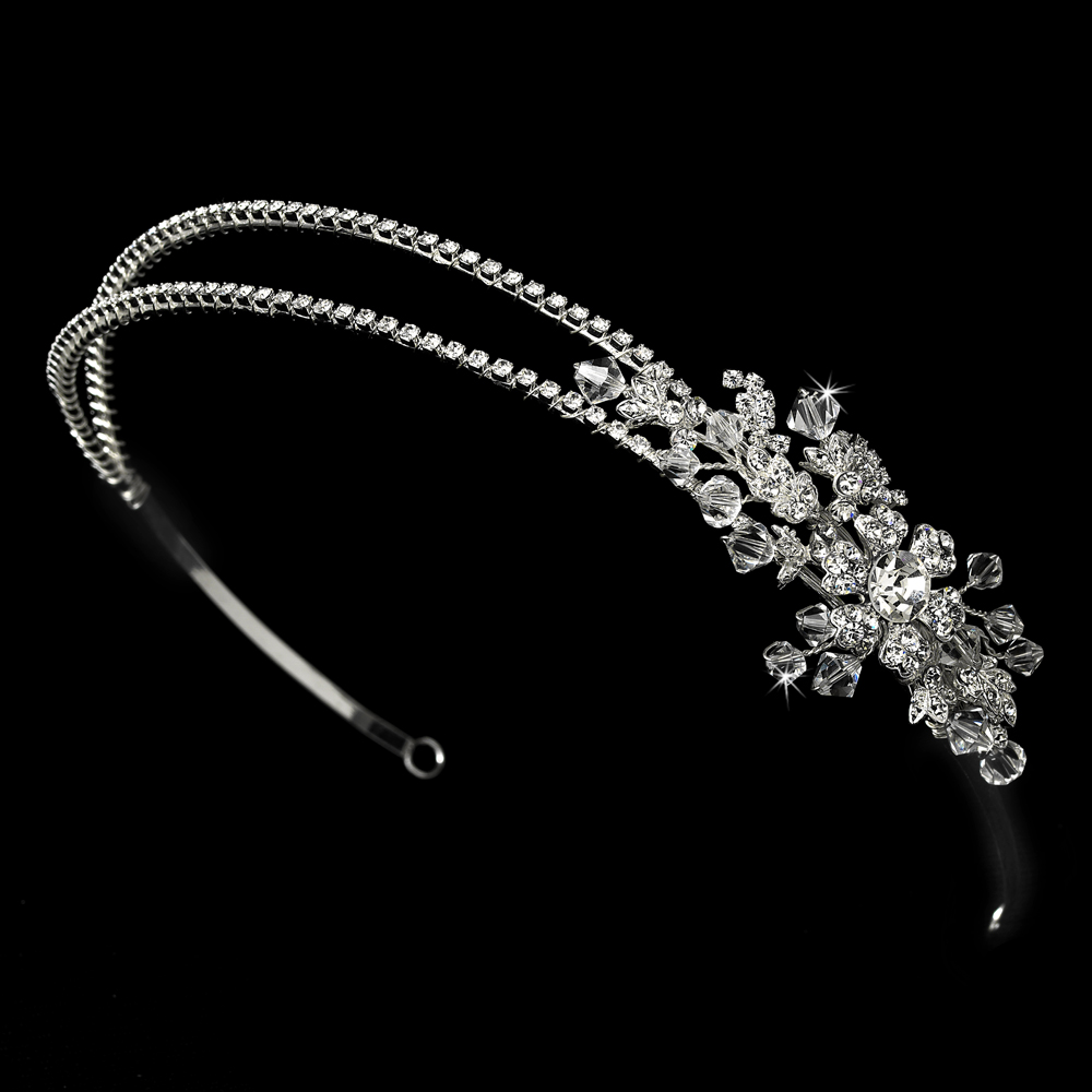 silver rhinestone bridal headband with ornate side