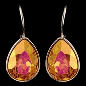 Silver Fireopal Swarovski Crystal Element Teardrop Leverback Earrings 9602