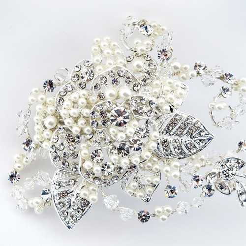 ✧SPECIAL ORDER ONLY✧ Silver Floral Swarovski Crystal Bead, Rhinestone & Pearl Vine Clip