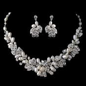 Silver Freshwater Pearl & Rhinestone Floral Jewelry Set 6822