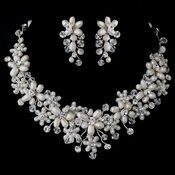 Silver Freshwater Pearl & Swarovski Crystal Bead Floral Vine Jewelry Set 4434