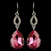 Silver Fuchsia & Clear CZ Crystal Drop Earrings 25285