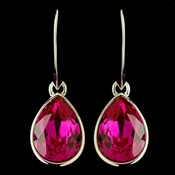 Silver Fuchsia Swarovski Crystal Element Teardrop Dangle Hook Earrings 9601