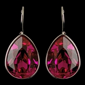 Silver Fuchsia Swarovski Crystal Element Teardrop Leverback Earrings 9602
