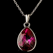 Silver Fuchsia Swarovski Crystal Element Teardrop Pendant Necklace 9602