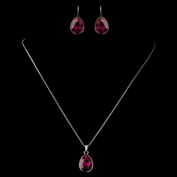 Silver Fuchsia Teardrop Swarovski Element Crystal Jewelry Set 9602