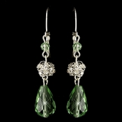 Silver Green Rondelle & Clear Rhinestone Leverback Drop Earrings 9714