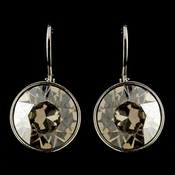 Silver Greige Light Grey Swarovski Crystal Element Round Leverback Earrings 9600