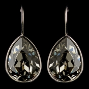 Silver Greige Light Grey Swarovski Crystal Element Teardrop Leverback Earrings 9602