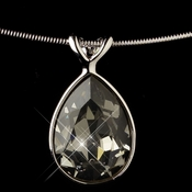 Silver Greige Light Grey Swarovski Crystal On Wire Teardrop Pendant Necklace 9604
