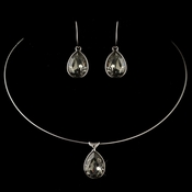 Silver Greige Light Grey Teardrop Swarovski Element Crystal Jewelry Set 9604