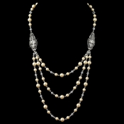Silver Ivory 3 Row Pearl Back Dangle Necklace***Discontinued***